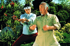 A scene from the movie THE KARATE KID