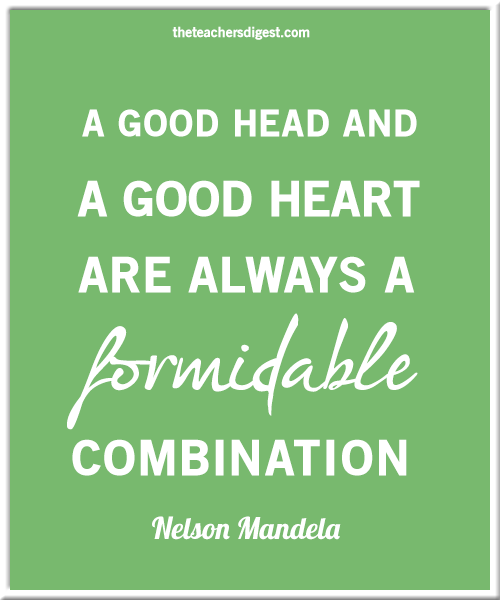 Inspirational Nelson Mandela quote - A good head and a good heart are always a formidable combination.