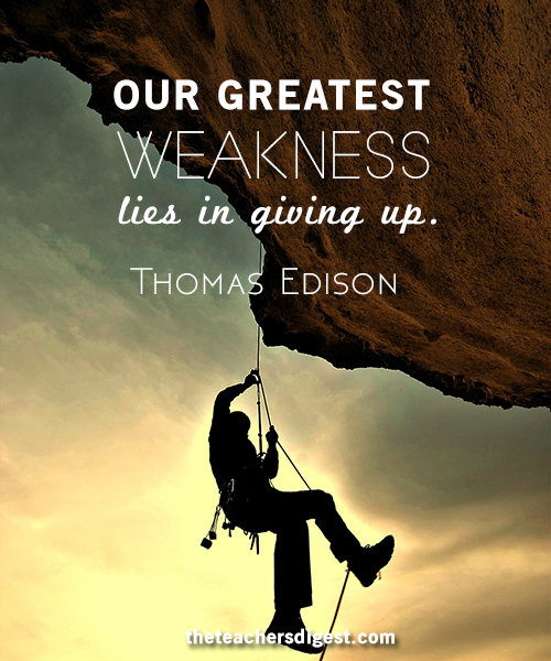 Inspirational Thomas Edison quote about not giving up.
