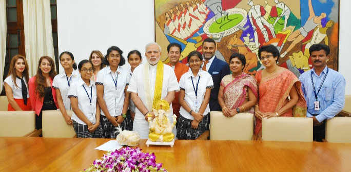 New_Horizon_Bangalore_Students_Visit_PM_Narendra_Modi